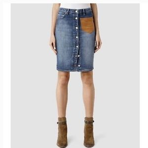 Allsaints Button Denim Skirt with Suede Pocket